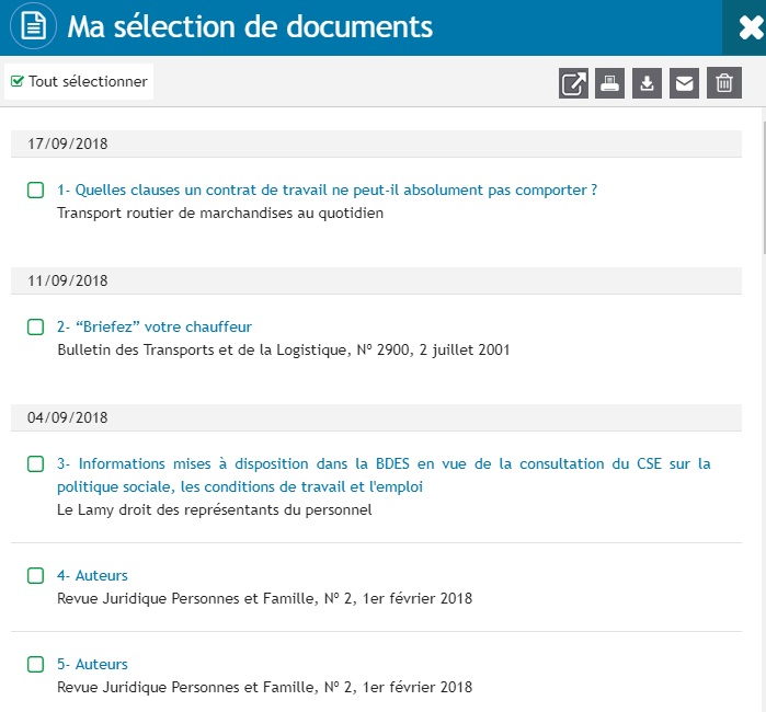 Ma sélection de documents